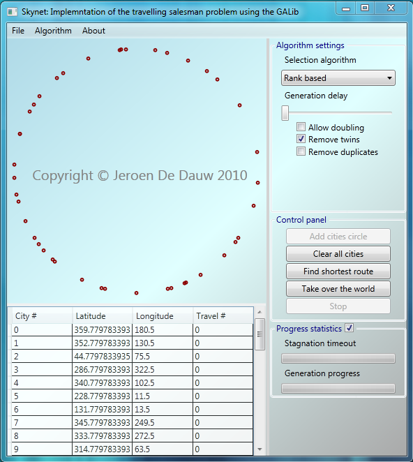 Skynet interface showing 42 cities arranged in a circle