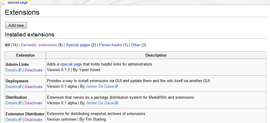 Special:Extensions page showing all installed extensions