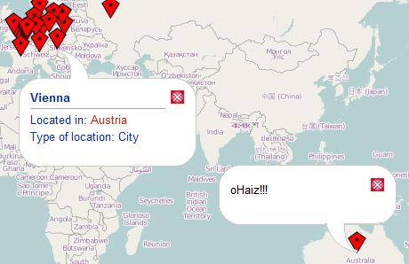 Semantic Maps displaying the result of a query on an OpenLayers map together with a static point.