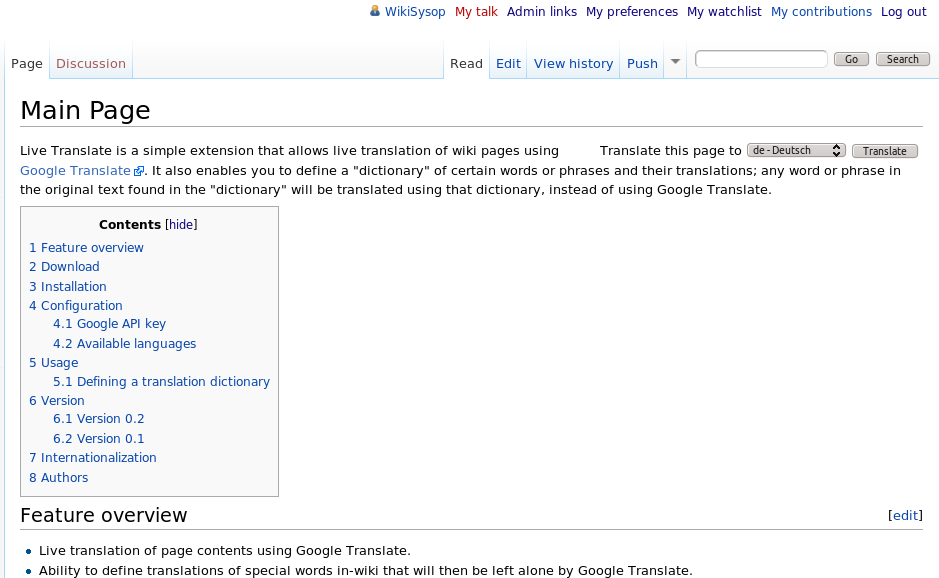 A wiki page with the translation control of the Live Translate extension at the right top corner.