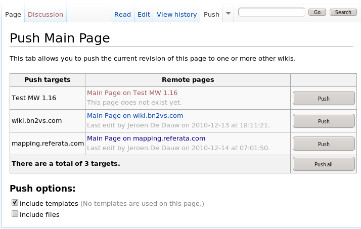 The tab interface of the Push extension