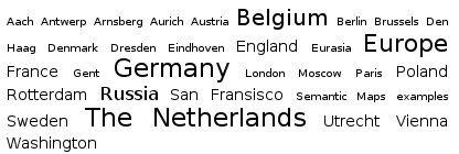 A simple tag cloud displaying several geographical locations.