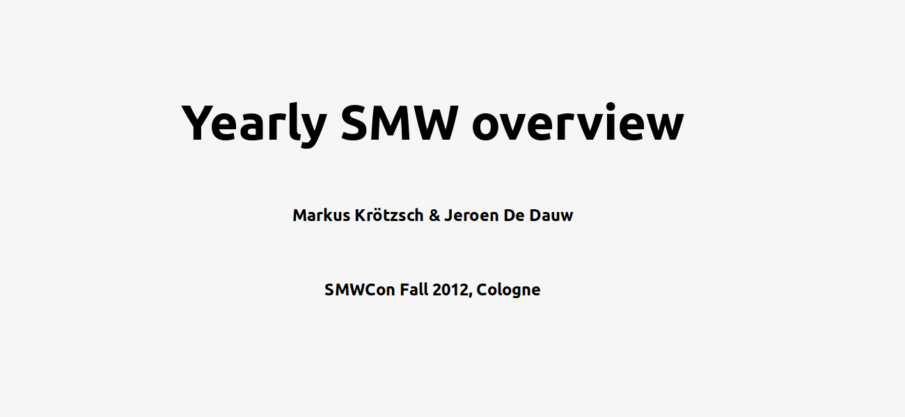 Yearly SMW overview 2012 - slide preview