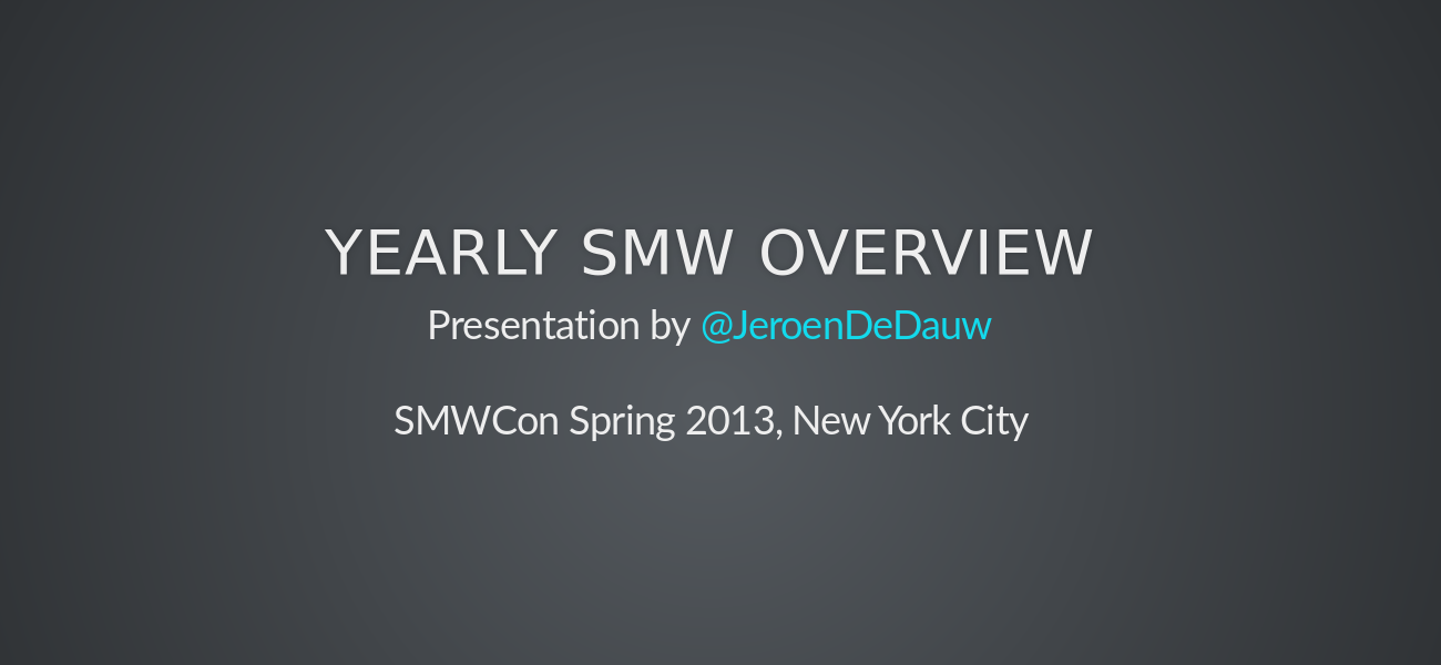Yearly SMW overview 2013 spring - slide preview